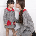new dress family matching clothing mother and daughter dress peter pan collar wool gray dress family look mum and me clothing