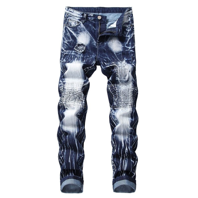 Men's Hi Street Ripped Biker Jeans Washed Pleated Distressed Motorcycle Denim Pants Trousers Patchwork Size 28-40