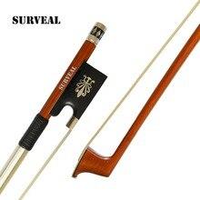 SURVEAL Advanced Level Pernambuco Violin Bow Carved with Warm Sound  Burma Ebony Frog Warn Tone Size 4/4