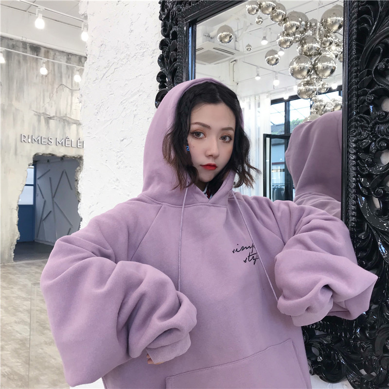 Hoodies Women Winter Elegant Trendy Leisure Hooded Solid Womens Pullover Students Letter Printed Long Sleeve Ladies Sweatshirts 5