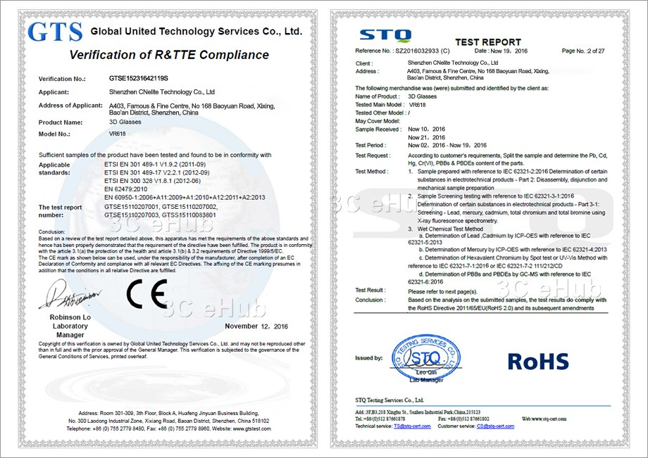 VR618-CE & ROHS
