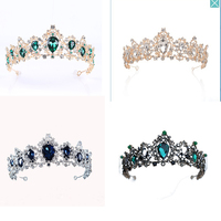 Snuoy Silver Crowns Wedding Blue/Green Crystal Bridal Tiaras Prom Halo Black Woman Hair Jewelry Rose Gold Princess Crowns