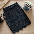 Summer lace Skirt stitching step skirt sexy slim package hip skirt solid body skirt