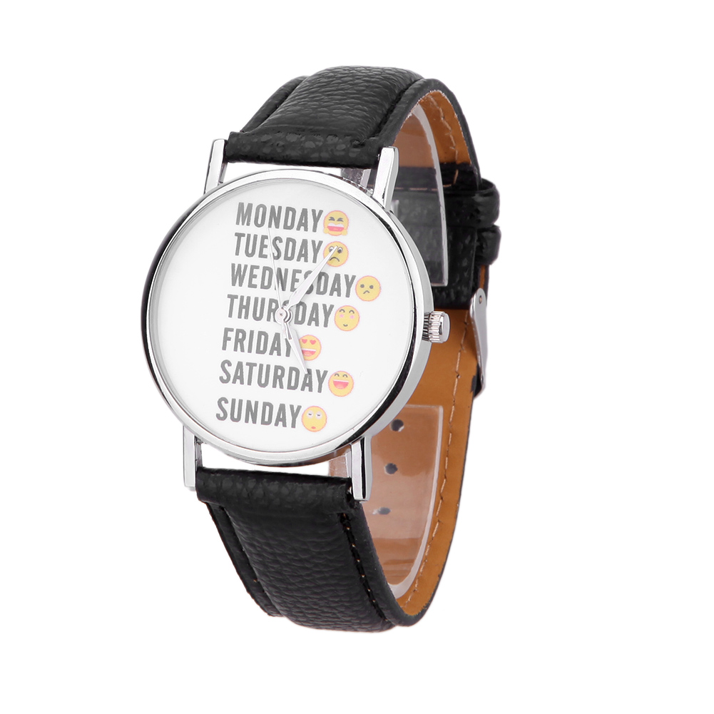 Fashion Watches Women Funny face expression PU Leather Watch Quartz Brand Bracelet Ladies Dress Watches Casual Wristwatch