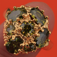 Green Olive Peridot Zircon Gold Filled Trendy Jewelry Ring US# Size 6 / 7 / 8 / 9 S1835
