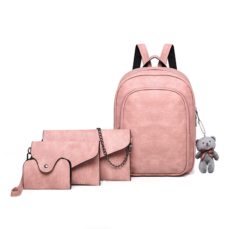 4pcs/ Set PU Leather Women Composite Bags High Quality School Backpacks For Teenage Girls Fashion Cute Bear Travel Shoulder Bag 4pcs set women fashion backpack pu leather teenage school bag casual clutch crossbody travel bags for girls with purse and bear
