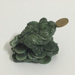 Фэн-шуй деньги на удачу Подарки Китайская монета три ноги жаба лягушка статуя животного скульптуры рукотворный нефрит камень домашний деко...