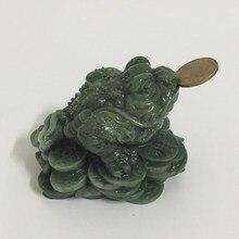 Dinheiro estátuas de buda chinês feng shui moeda três patas sapo sapo estátua de animais esculturas decoração de casa homem-feito pedra de jade
