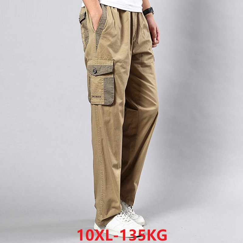 Men Cargo Pants Pockets Big Size Big 8XL 9XL 10XL Stretch Trousers Summer Out Door Straight Pants Khaki Black Loose 42 44 46 48
