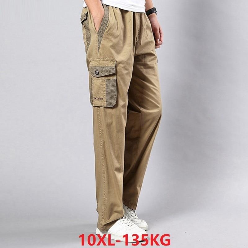 Men Cargo Pants Pockets Big Size Big 8XL 9XL 10XL Stretch Trousers Summer Out Door Straight Pants Khaki Black Loose 42 44 46 48
