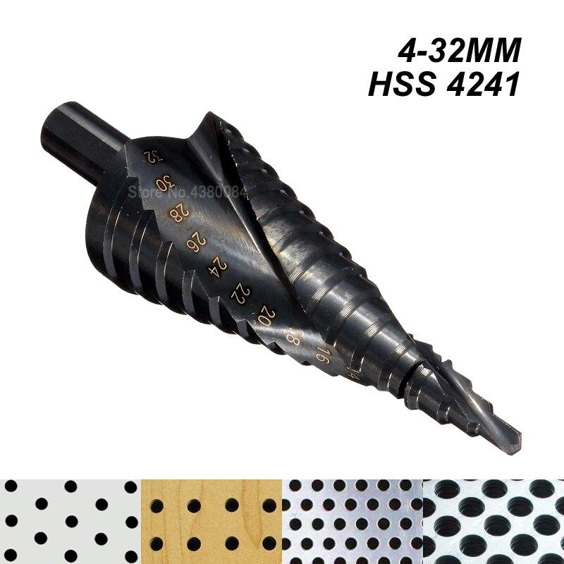 4-32mm Nitrurato Nero HSS Triangolo Gambo Scanalatura A Spirale Broca Metallo Passo Cone Drill Anima In Acciaio Seghe Cutter strumento mano