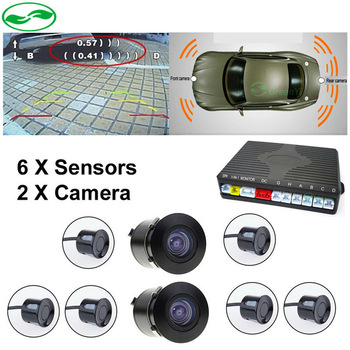 Free Shipping New Dual Channel Front Camera and Rear view Camera + Front/ Rear 6 Sensor Video Parking Radar Assistance System