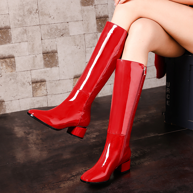 Ladies Genuine Leather Comfort Low Heel Knee High Boots Fashion Zipper Square Toe Warm Winter Shoes Black Red White