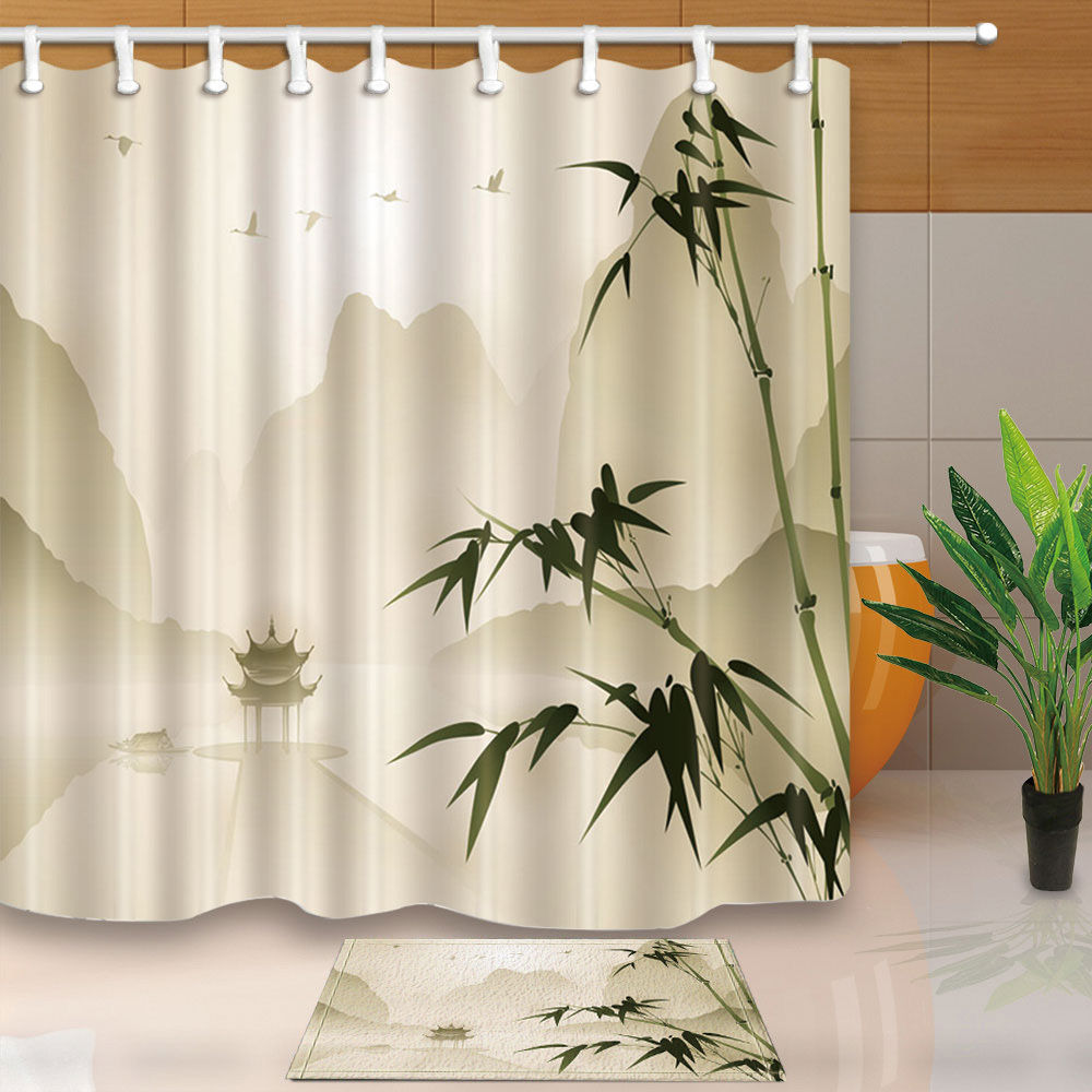 Bamboo and pavilion Decorative Waterproof Fabric Bathroom Shower ...