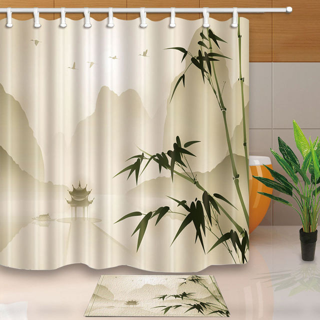 Bamboo And Pavilion Decorative Waterproof Fabric Bathroom Shower