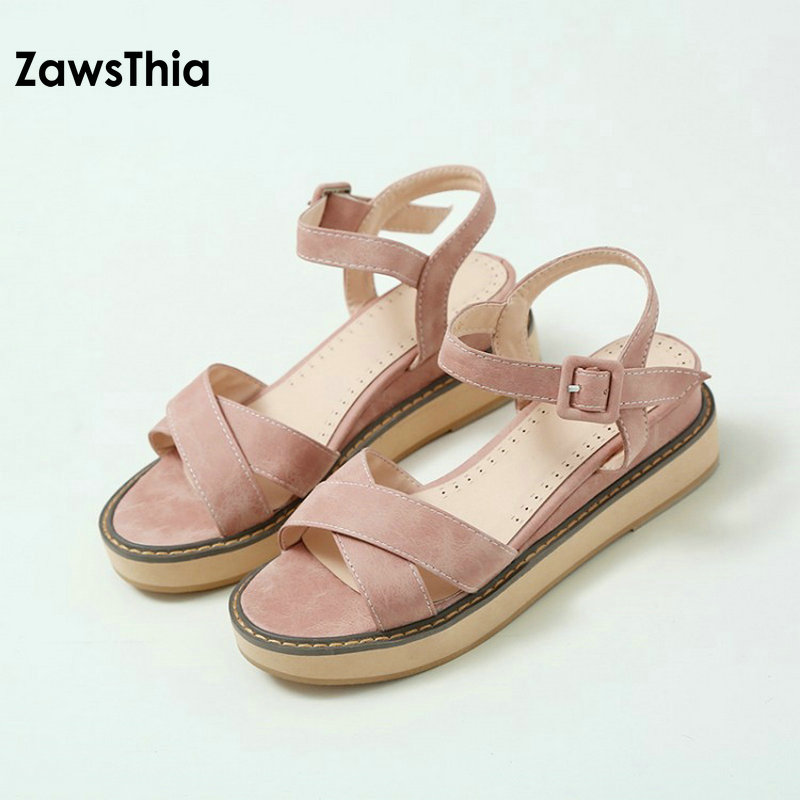 ZawsThia 2018 summer high quality flat heel shoes for woman sweet ladies leisure casual  ...