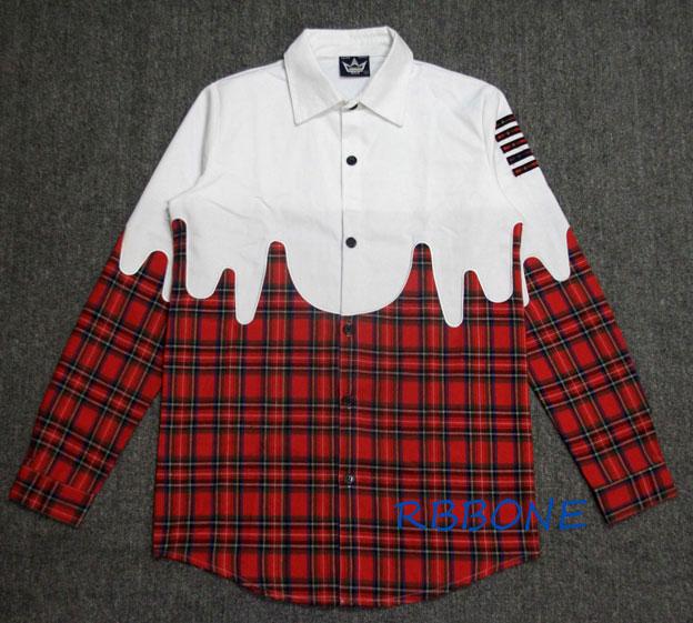 eb66286d7 2016 Newest HipHop Fashion Pyrex Off White 13 Men Plaid Shirt Wear Long  Sleeved High Quality