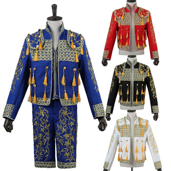 Mens Matador Clothing Stage Court Performance Bullfighting Embroidery Black Red Blue Sets Coat Vest Short Pant