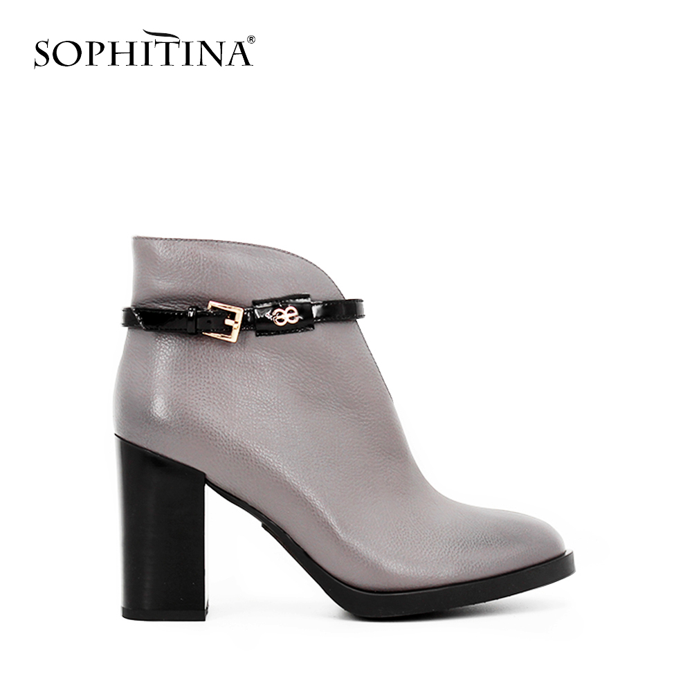 SOPHITINA Leather Boots High Quality Thick Heel Round Toe Zipper Women Ankle Boots Sexy Handmade Buckle Winter Woman Shoes B37 xiangban women leather boots round toe handmade women ankle boots comfortable thick heel autumn shoes