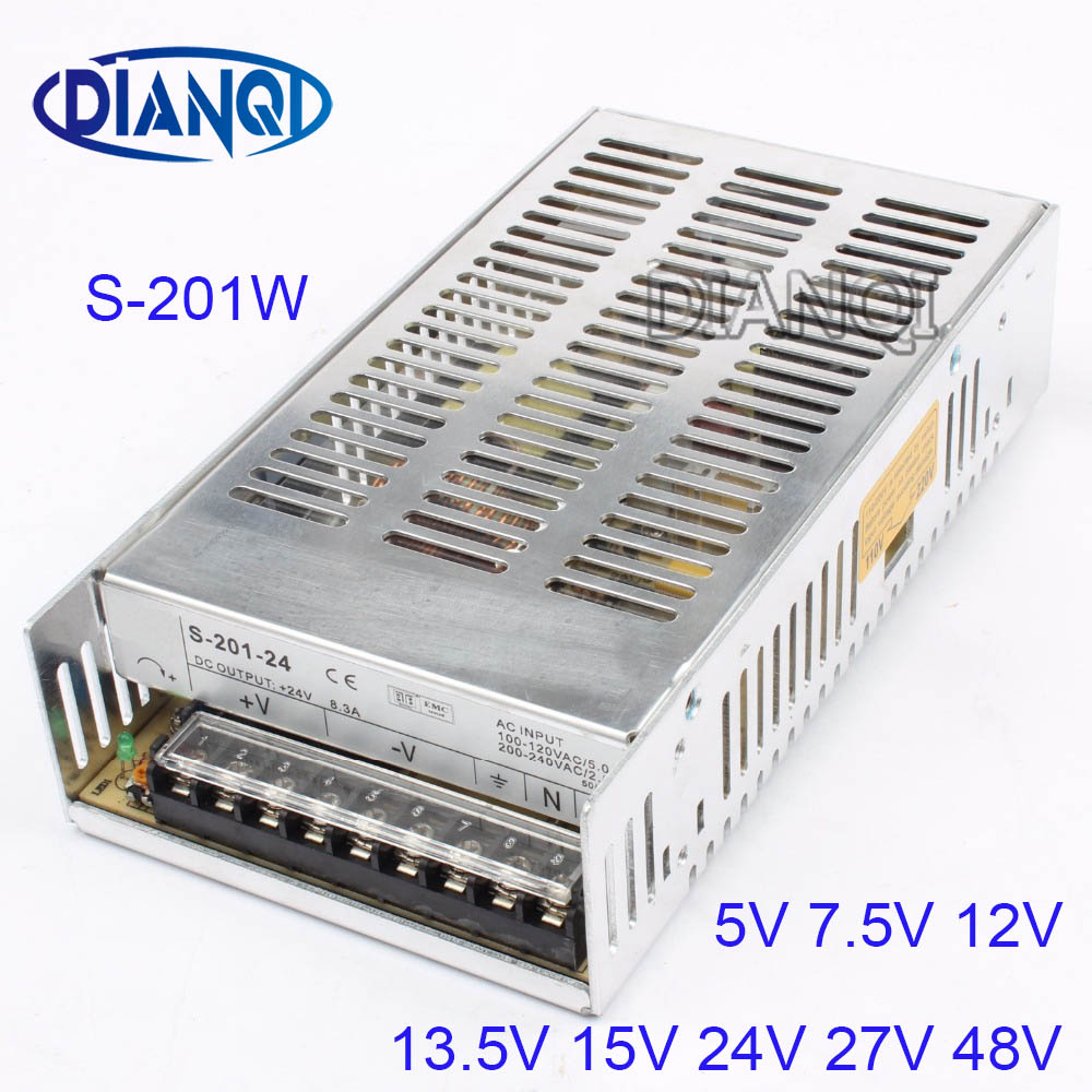S-201-12 led power supply switch 201W 12v 16.5A ac dc converter variable dc voltage regulator adjustable output voltage 15V 24V 12v adjustable voltage regulator 110v 220v converter ac dc led transformer regulable ce 0 12v 33a 400w switching power supply