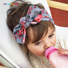 SLKMSWMDJ new childrens cotton flower bow headdress with cute rabbit ears girl baby headband accessories 8 colors 1pcs