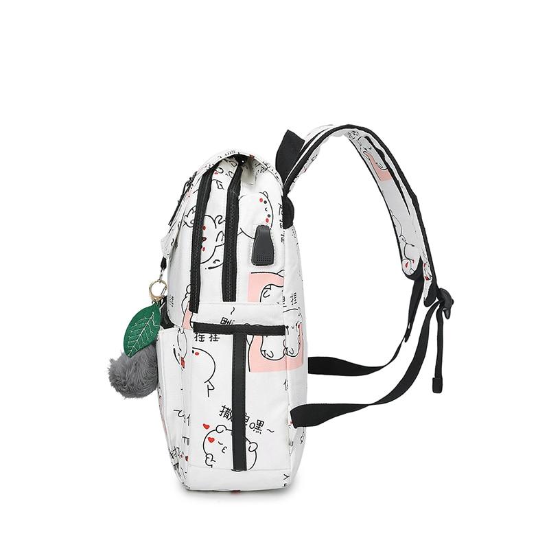 3 Pcs/set Usb Charging Canvas Women Backpack Printing School Backpacks Schoolbag For Teenagers Student Book Bag Girl Boy Satchel #3
