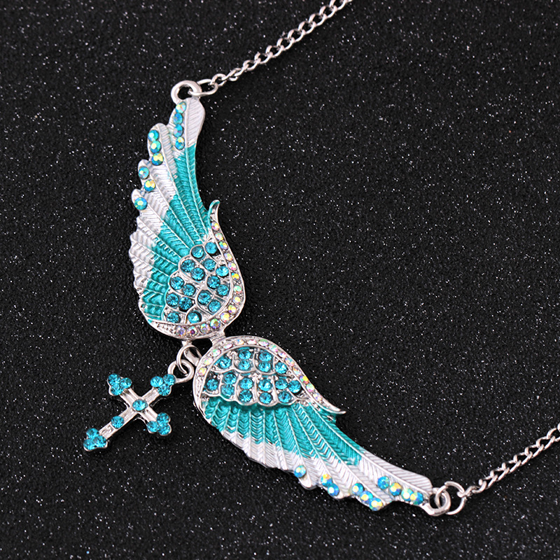 Angel Wing Cross Choker Necklace Guardian Women Biker Crystal Jewelry Gifts Silver Color Dropshipping