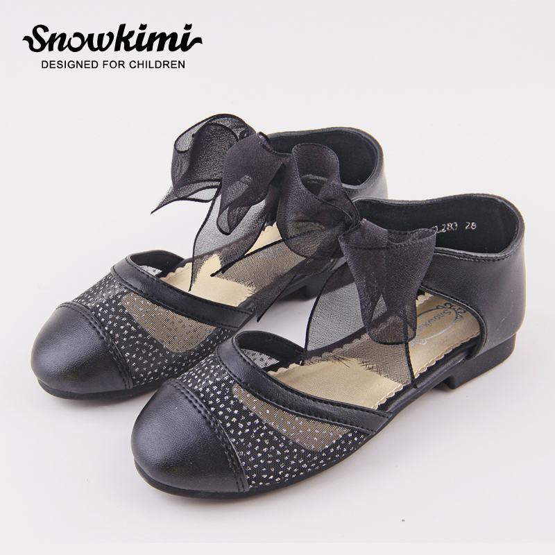 Snowkimi2018 spring grils lace mesh leather shoes sweet princess children dance hollow breathable flat with OF 50% snowkimi2018 spring girl butterfly leather shoes leather breathable children flat heels dress shoes