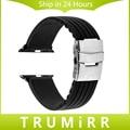 Pulseira de borracha de silicone para a apple watch 38 iwatch mm 42mm fivela de aço inoxidável pulseira pulseira banda w/adaptador de conector de ligação