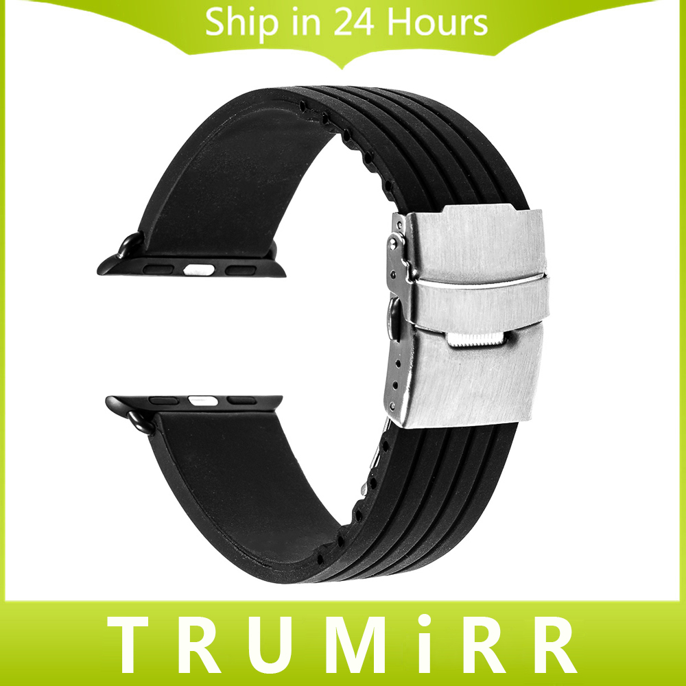 купить Silicone Rubber Watchband for iWatch Apple Watch 38mm 42mm Stainless Steel Buckle Band Strap Bracelet w/ Link Connector Adapter дешево