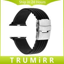 Caoutchouc bracelet en silicone pour iwatch apple watch 38mm 42mm en acier inoxydable boucle de courroie de bande bracelet w/lien connecteur adaptateur