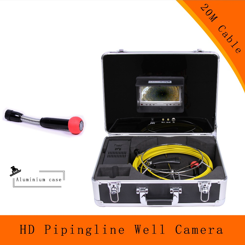 (1 set) 20M Cable Underwater Pipeline well endoscope camera 7 inch sewer inspection system Night version industry 1100TVL CCTV