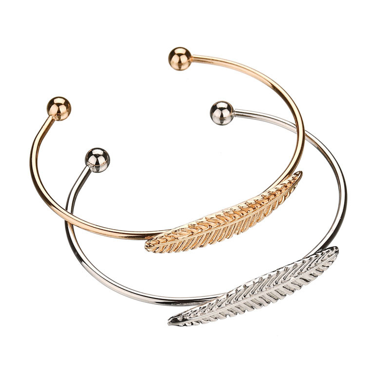 New Open Cuff Bangle Bracelet Feather Leaf Charm Accessory Gold/Silver Fashion Bracelet For Women