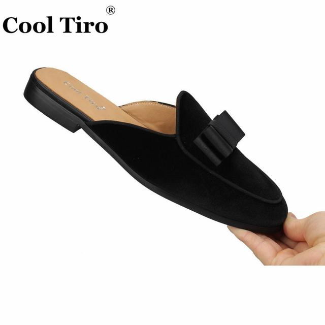 Cool Tiro Black Velvet Mules Slippers Men Bow Tie Slip-On Flats Men  Handmade shoes Casual Shoes Genuine Leather Indoor and outdo 55d1a02f169f
