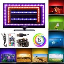 RGB 5050 USB LED Strip 5V Ribbon Flexible Led Light Strip USB Tira LED Neon RGB Tape 17 Keys Remote TV Background Lighting 1M 3M 5050 led strip 1m 2m 30leds ip65 waterproof rgb led strip light dc5v flexible lighting ribbon tape with rf rgb controller