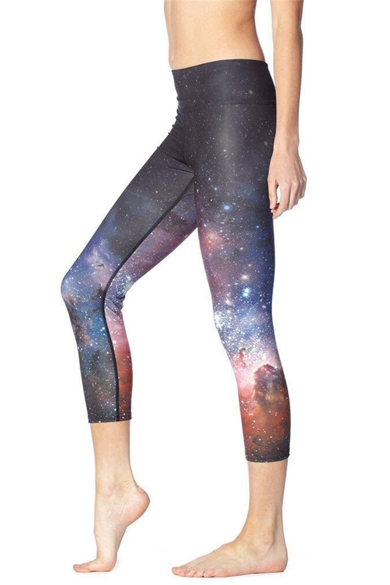 Ženy Tajemná galaxie Tisk Fitness Rychleschnoucí cvičení Legíny Vysoký pas Střední kalhoty Energetické kalhoty Kalhoty Ropa Mujer