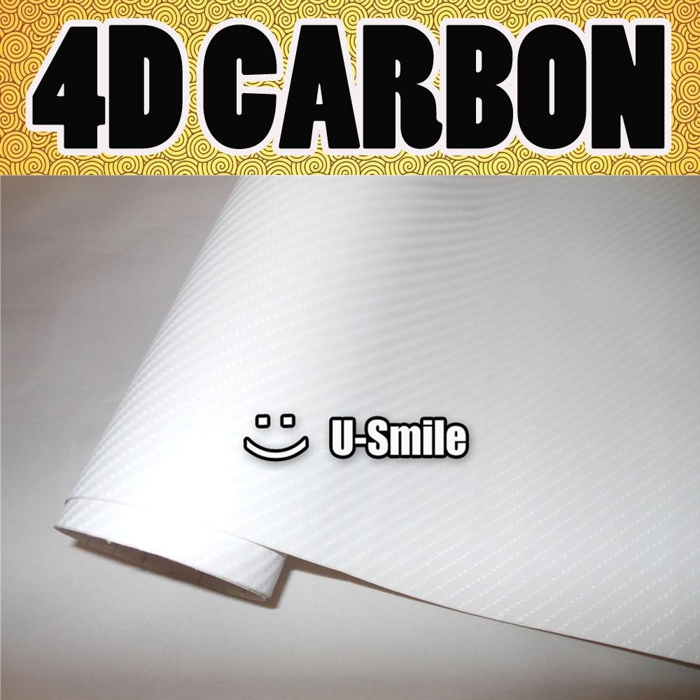 Premium Gloss White Carbon Fiber 4D Vinyl Film Wrap Air Bubble Free For Car Wraps Size:1.52X30M/Roll high quality black glossy 2d carbon fiber vinyl air free bubble for vehicle wraps size 1 52 30m roll