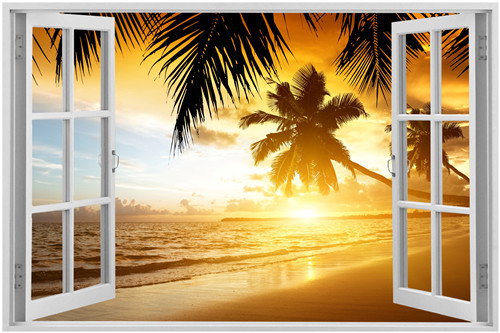 The beautiful beach out of the window Home Decoration Wall Poster ...