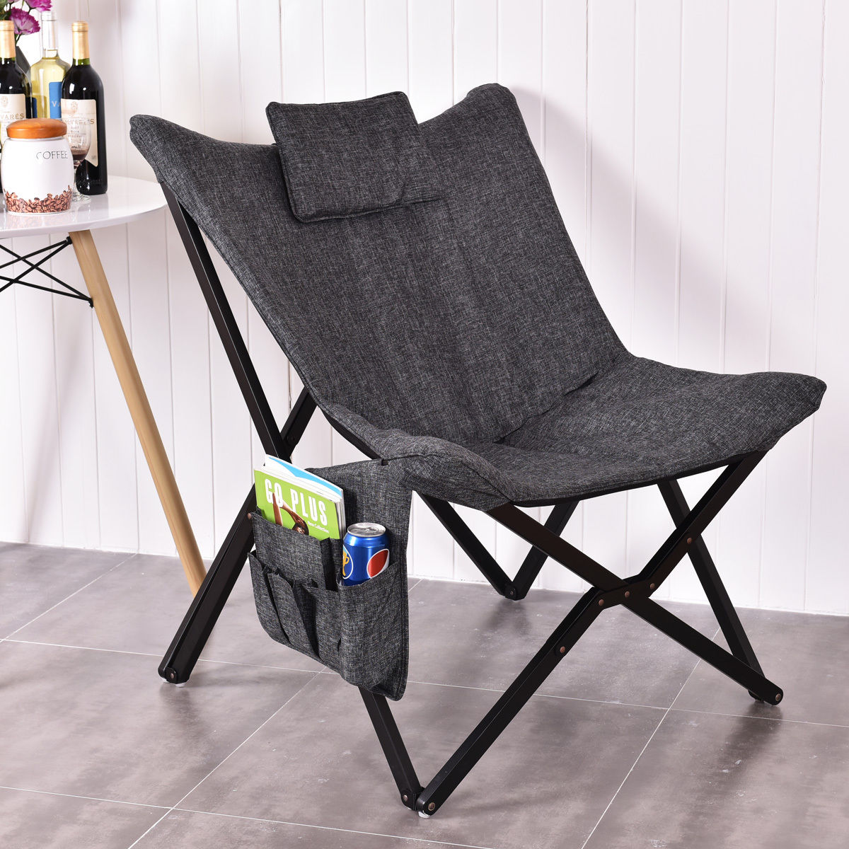 Фотография Giantex Folding Butterfly Chair Seat Solid Black Wooden Frame Sofa Chairs Modern Foldable Home Outdoor Furniture HW54445
