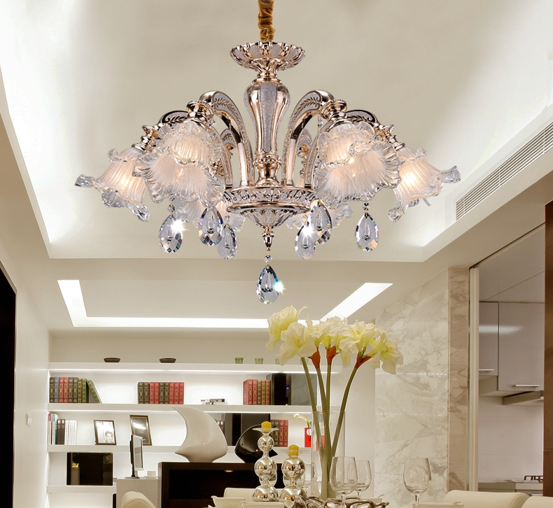 Home crystal pendant chandelier led Lustre cafe lighting plating K9 crystal drop ceiling chandelier coffee shop indoor lighting|k9 crystal chandelier|crystal chandelier|ceiling chandelier - title=