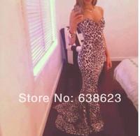 AP504 2014 Free Shipping New Design Leopard Print Colors Strapless Mermaid Long Train Lace Up Back