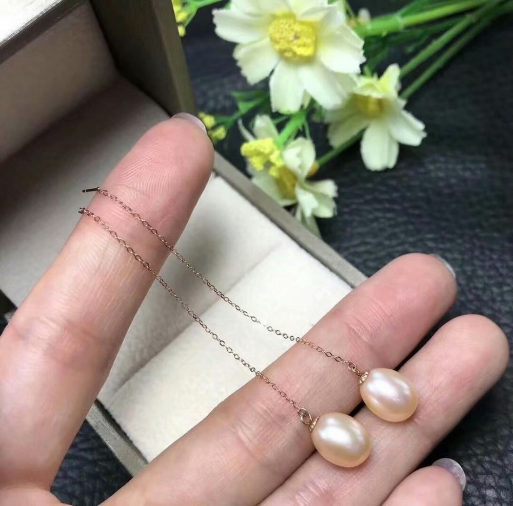 shilovem 18k rose  Natural  freshwater pearls Drop Earrings fine Jewelry women trendy anniversary  gift myme0808agzz