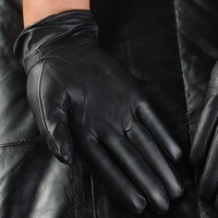 Free Shipping Hot Selling 2 Pairs Police Traffic Working Genuine Goat Skin Leather Gloves With Velvet