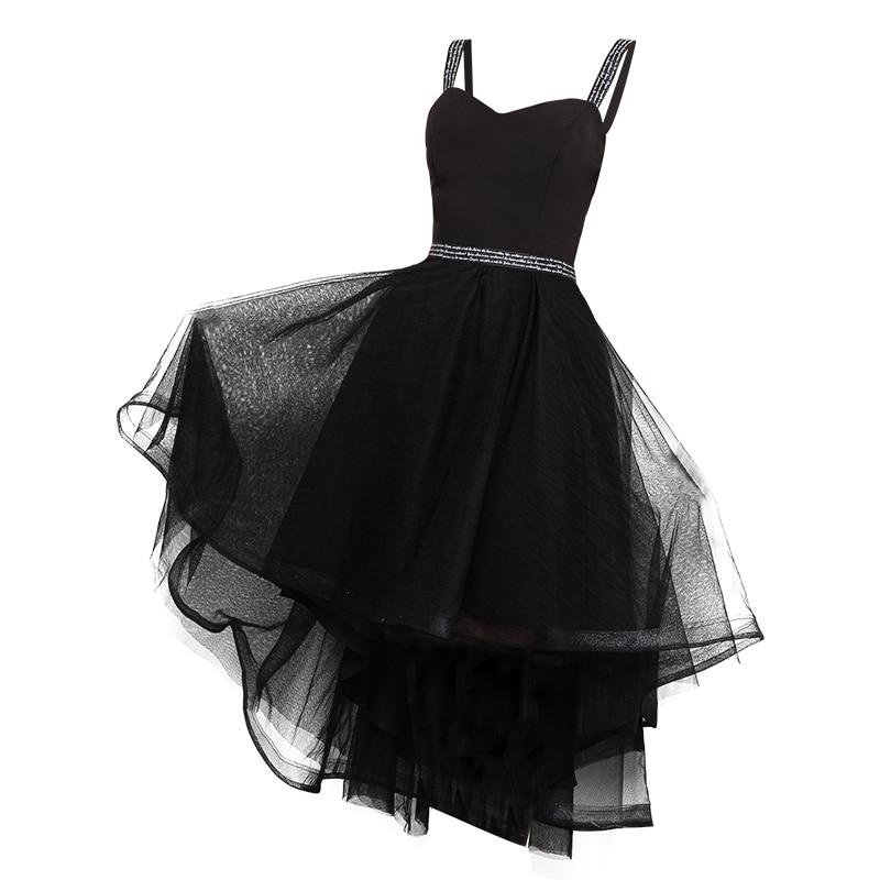 High Low Black Sweetheart Prom Dresses 2018 Elegant Shoulder Straps Sleeveless Short Prom Dresses Lace Up Back