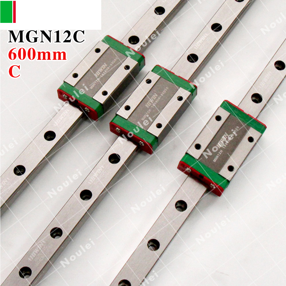 HIWIN MGN12C slides block with 600mm 3pcs MGN12 linear guide rail 12mm MGN stainless steel set for mini router CNC parts free shipping to argentina 2 pcs hgr25 3000mm and hgw25c 4pcs hiwin from taiwan linear guide rail