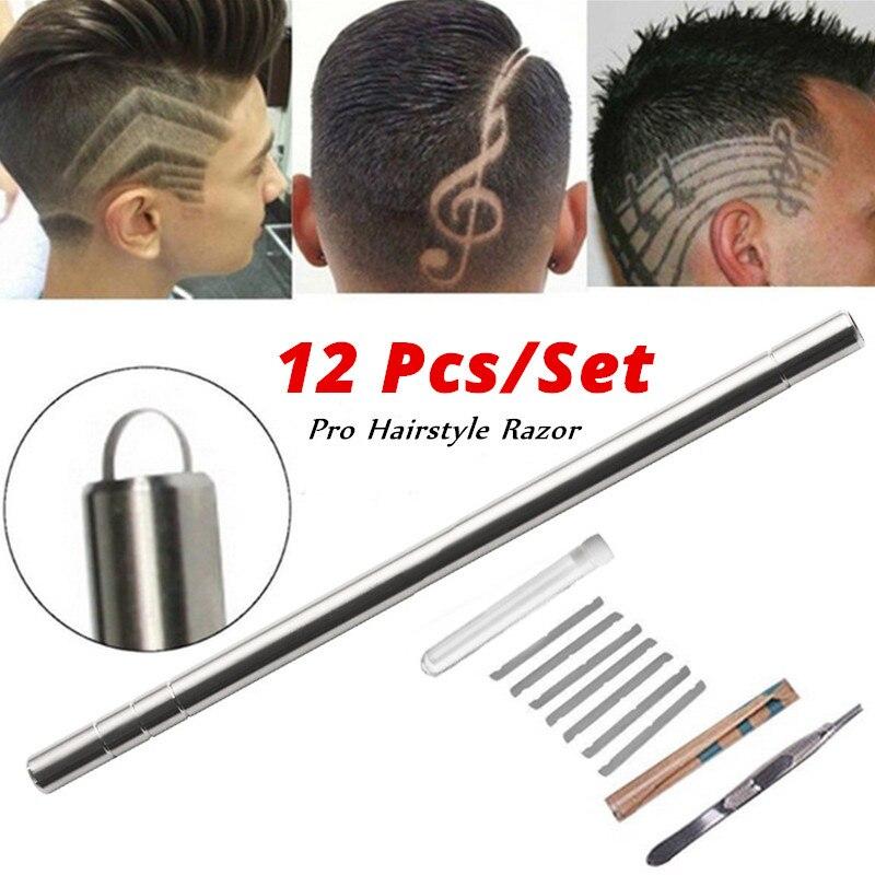 Professional 12Pcs/Set Multifunctional Magic Engraved Pen Stainless Steel Shaving Pen Eyebrow Beard Salon Kit Haircut Razor