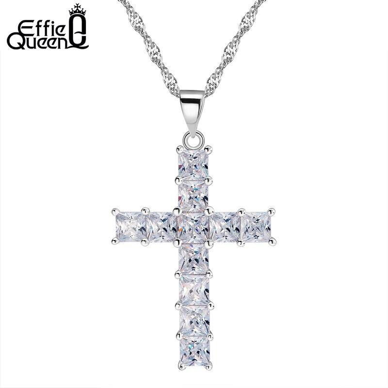 Prix pour Effie Reine Classique Croix Pendentif Collier En Cristal 11 Pièces Cubique Zircon Pavée De Luxe Femmes De Mode Bijoux DN100