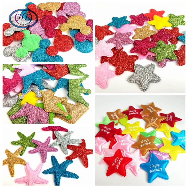 HL 20/40/50PCS Mix colors Padded Felt Star/Starfish/Crown/Mouse Head DIY Appliques Wedding Decoration Garment Sewing Crafts