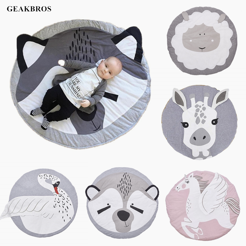 90CM Baby Infant Play Mats Kids Round Crawling Carpet Floor Rug Baby Bedding Blanket Cotton Play