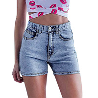 2018 High Quality Fashion Hotpants Women Denim Shorts High Waist Slim Stretch Washed Snowflakes Jeans Shorts